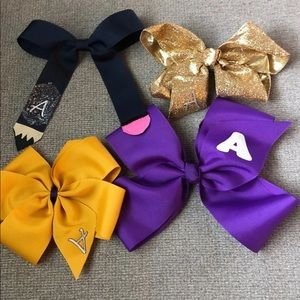 """4 Large girls hair bows with """"A""""  initial"""